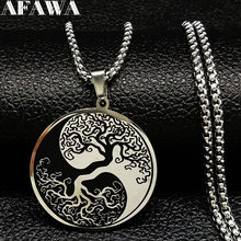 Tree of Life Enamel Stainless Steel Chain Necklaces for Men Ying Yang Silver Color Necklace Jewelry colgante hombre N726S01