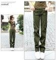 Carga Calças Das Mulheres Do Exército Verde Carga Calças 100% Algodão 2017 Nova Moda Multi-Bolsos Frete Grátis