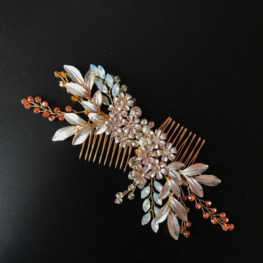 Handmade Gold Leaf Bridal Hair Comb Set Handmade Bridal Headpiece Rhinestone Beaded Wedding Hair Accessories 2017