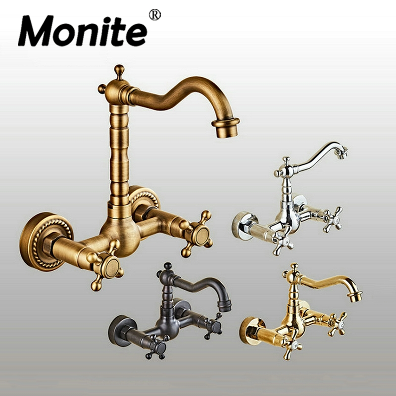 360 Swivel Antique Brass Bathroom Basin Sink Mix Tap Dual Handles Wall Mounted Kitchen Basin Sink Mixer Faucet 2 hole deck mounted 360 swivel spout bathroom basin faucet antique brass dual cross handles kitchen sink mixer taps wnf036