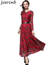 2017 New Women Autumn Winter Fashion red Lace font b Dresses b font Long Sleeve Sexy
