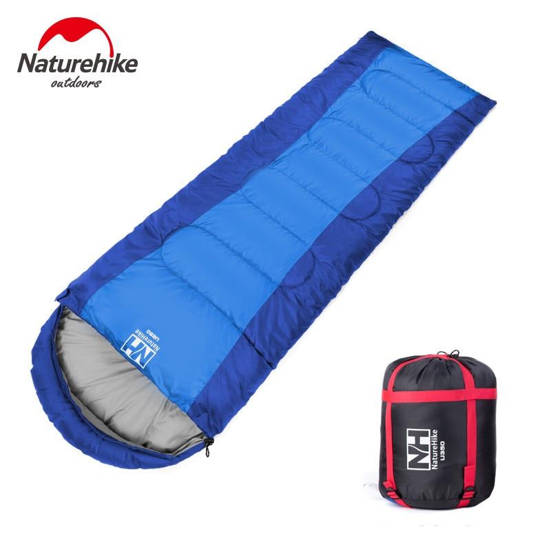 ФОТО Naturehike 2200mm X 750mm 1.7kg Camping Waterproof Sleeping Bag Envelope hooded Travel camping hiking Thermal sleeping bag