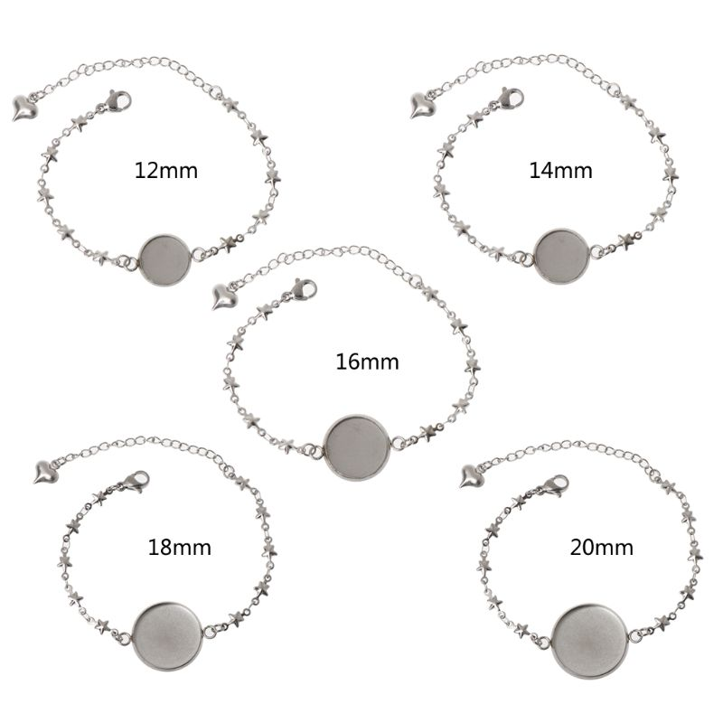 5 Styles Stainless Steel Round Cabochon Disc Blank Setting Bezel Pad DIY Bangle Bracelets <font><b>12</b></font> <font><b>mm</b></font> 14 <font><b>mm</b></font> 16 <font><b>mm</b></font> 18 <font><b>mm</b></font> 20 <font><b>mm</b></font> image