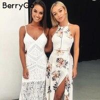 BerryGo Floral print halter chiffon long dress Women backless 2018 maxi dresses vestidos Sexy white split beach summer dress