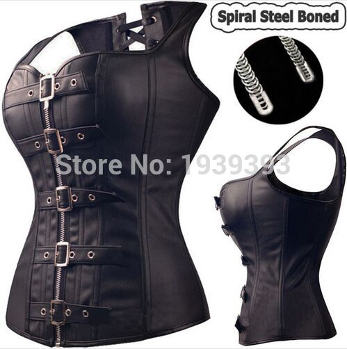 Black Spiral Steel Boned Steampunk Overbust Corset Bustier Top Dress SEXY G-string Lingerie Women Corsets Plus