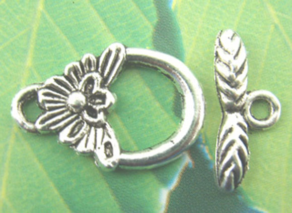 Zinc Metal Alloy Toggle Clasps Pineapple Antique Silver Butterfly16mm X6mm(5/8