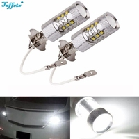 2PCS X H3 80W Super Bright LED White Fog Tail Turn DRL Head Car Light Lamp