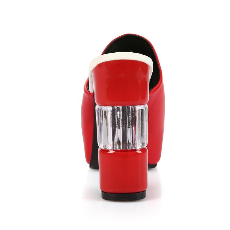 Nuovo rosso Pantofole Estate Inferiore Nero Cuneo Alto Il Donna Di Fashion Tacco Z0108 bianco 2019 Sandali Open Spessore Toe d0pTqd