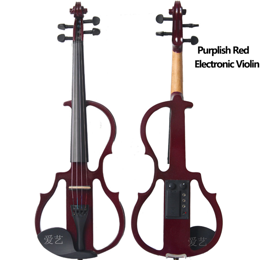 4/4 Electronic Violin  Purplish Red Electronic Violin Wood Violin+Rosin+Case+Bow+Tuner handmade new solid maple wood brown acoustic violin violino 4 4 electric violin case bow included