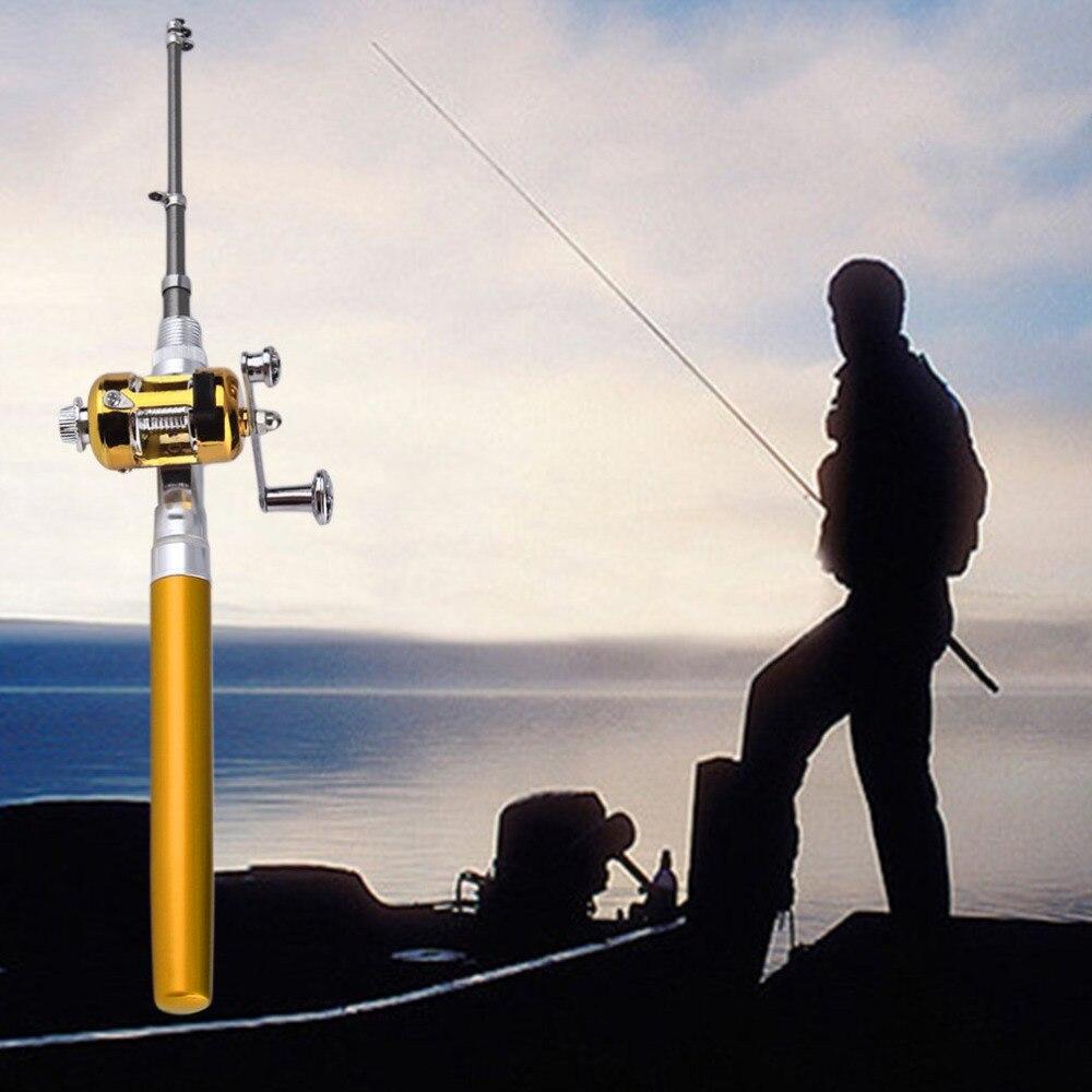 1pc mini portable aluminum alloy pocket pen shape fish fishing rod and reel