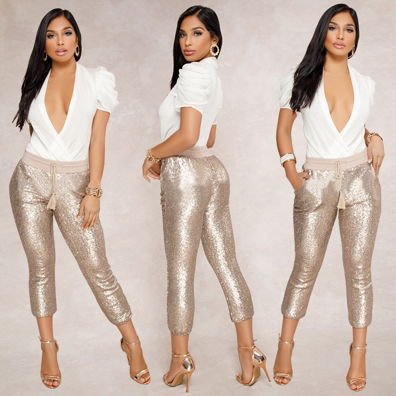 Fashion Sequin Pencil Pants 2018 New Hot Solid Black/Gold Women Drawstring Waist Bling Party Nightclub Calf-length Trousers