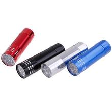 1pc Mini Aluminum UV Ultra Violet 9 Led Flashlight Torch Light Lamp 9 LED UV Torch