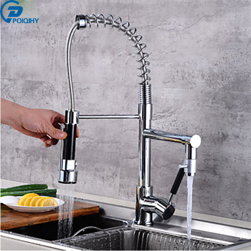 POIQIHY  Pull Down Vessel  Kitchen Faucet Swivel Spout Sink Mixer Tap Chrome Finished Hot and Cold Water swivel spout chrome brass kitchen faucet dual sprayer vessel sink mixer tap hot and cold water