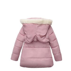 Image 2 - Winter Warm Thicken Fur Collar Long Child Coat Children Outerwear Windproof Fleece Liner Baby Girls Jackets For 100 120cm