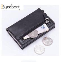 BYCOBECY 2019 Card Holder Aluminum RFID Wallet Magnetic Closing Casual Fashion Antitheft Money Bag Travel Case