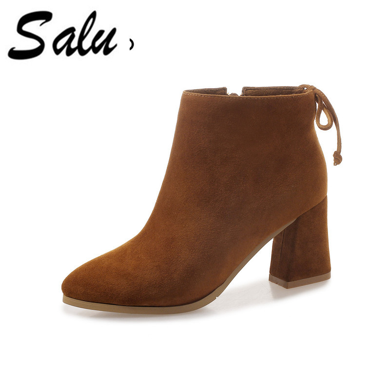 Salu 2018 pointed toe thick heel ankle boots kid suede shoes classic boots genuine leather high heel women bootsSalu 2018 pointed toe thick heel ankle boots kid suede shoes classic boots genuine leather high heel women boots