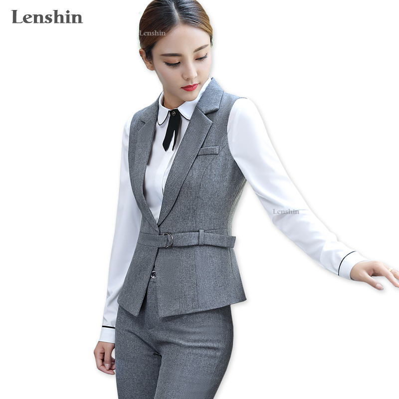 Lenshin 3 Piece Set Adjustable Waist Formal Pant Suit Waistcoat Belt Gray Vest Women Sleeveless Jacket