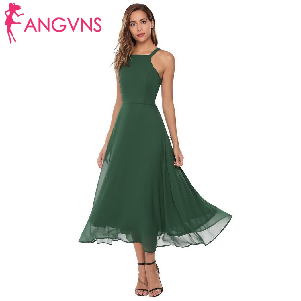 ANGVNS Women Formal Dress Lace up Sexy Spaghetti Strap Backless Hollow Out A-Line Pleated Maxi Dress Party Vestidos de fiesta