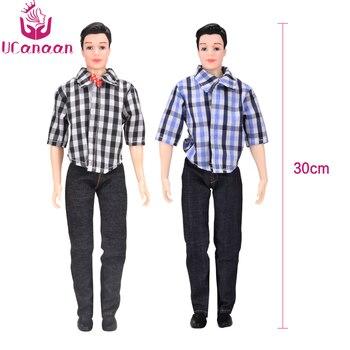 UCanaan 1 PC ケン少年服スーツ Diy のおもちゃカジュアル摩耗チェック柄ジャケットパンツのためのケン人形