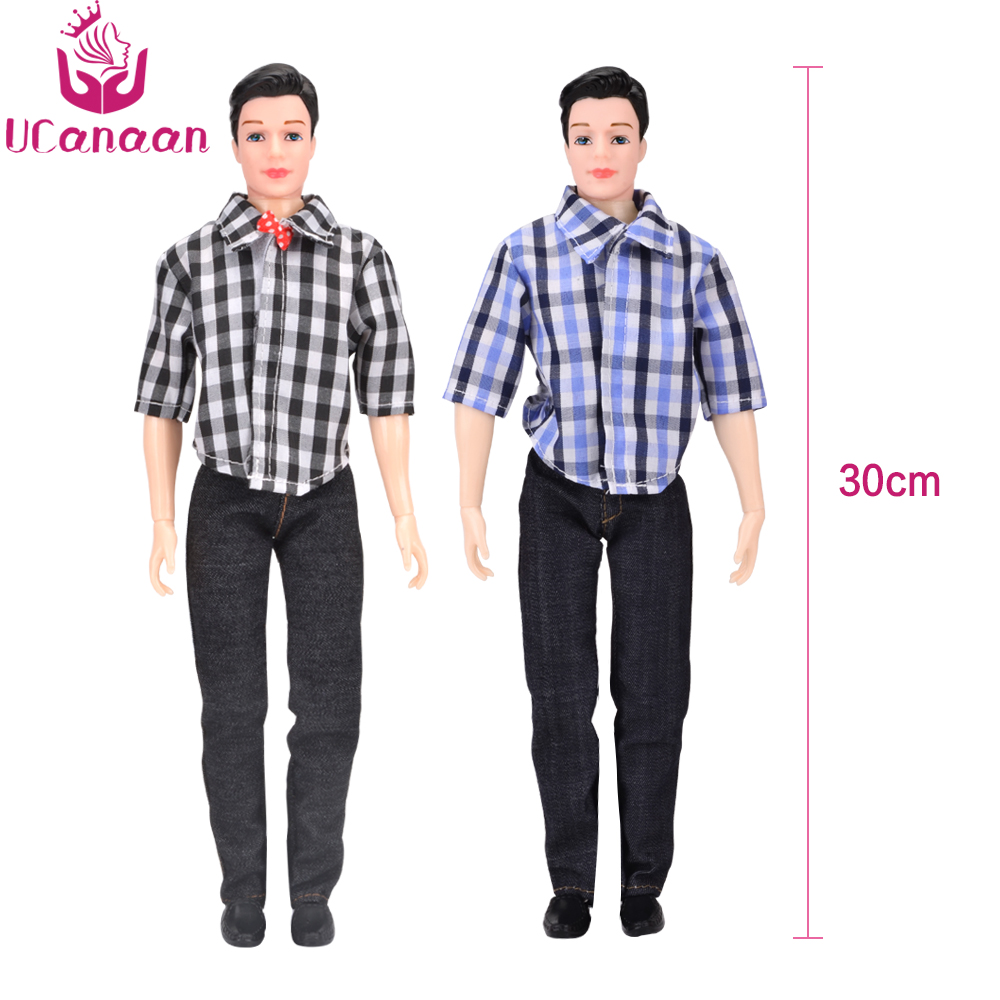 UCanaan 1PC Ken Boy Doll With Clothes Suit DIY Toys For Children Casual Wear Plaid Jacket Pant Outfit For Ken Dolls