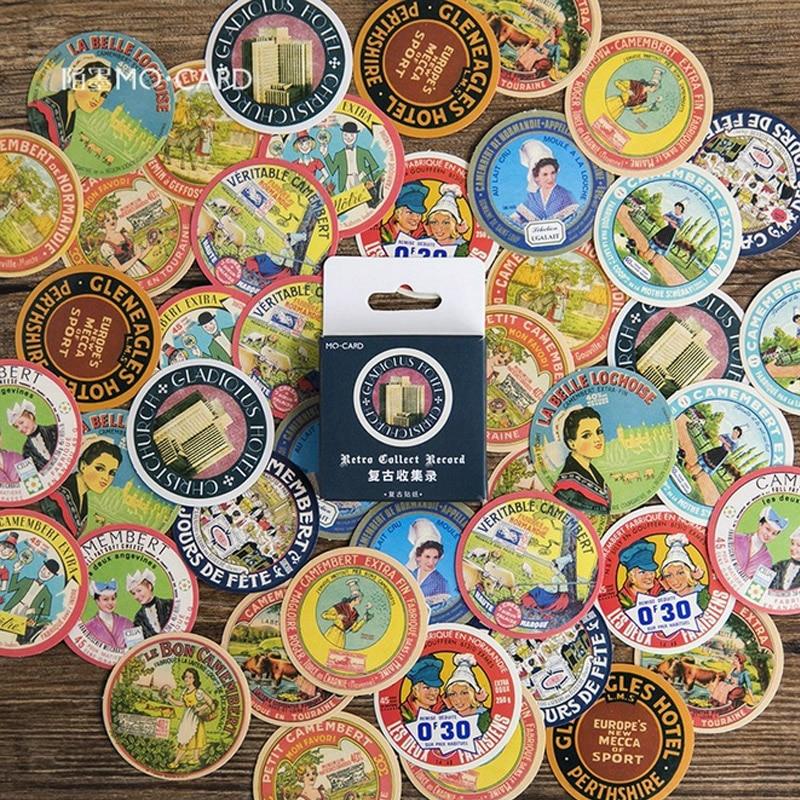 45 Pieces Box Vintage Advertising Mini Paper stickers