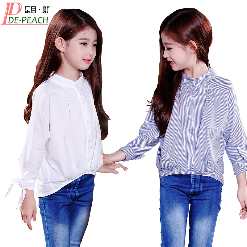 Girls School Blouses Spring Cotton Blouse For Girls Children Stripe White Blouse Long Sleeved Fashion Casual O-Neck Shirts