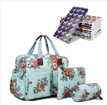 Women 4 pcs Flower Floral Oilcloth Maternity Changing Bag Satchel Large Handbag Tote composite bag crossbady bags