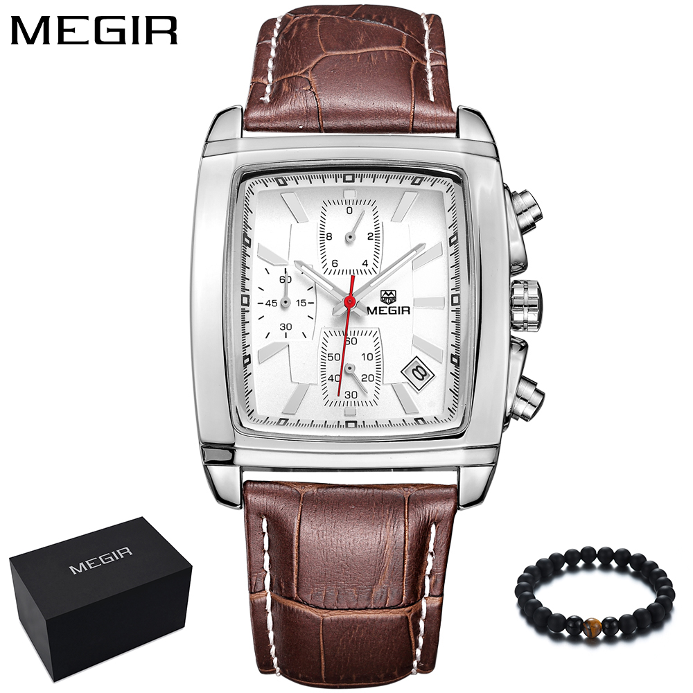 MEGIR Men Watches Top Brand Luxury Business Quartz Sport Watch Men Leather Band Square Wristwatch relogio masculino 2028 on sale letter print raglan hoodie