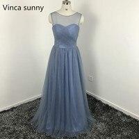 Elegant Dusty Blue Bridesmaid Dresses 2016 Illusion Bateau Neckline Pleats Bodice A Line Floor Length Tulle