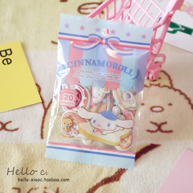 4 Models Cartoon Candy Seal Flake Frog Cinnamoroll Pudding Dog PVC Sticker Decoration Index Stickers For Kids Toys