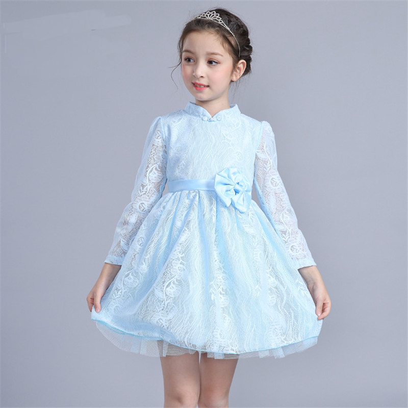 Spring Lace Dresses For Girls Solid Long Flower Bow Pattern Children Dress O-Neck Ball Grown Party Princess Kids Clothes 3-7Y 2018 spring girls dress children lace vestido kids long sleeve princess dresses cotton lining party clothing for 24m 7y