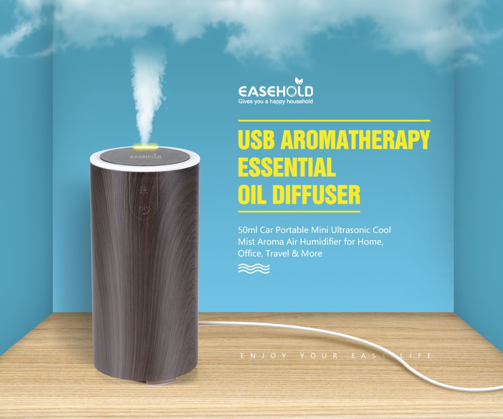 EASEHOLD USB Aromatherapy Essential Oil Diffuser 50ml Car Portable Mini Ultrasonic Cool Mist Aroma Air Humidifier For Home mini ultrasonic humidifier usb car air humidifier for home office car aroma cool mist humidifier sound off portable aromatherapy
