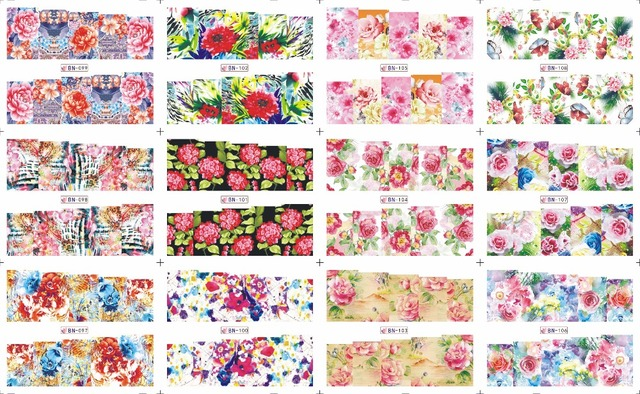 on sale !! 1 Lot =50sheets 12 in one sheet  New Style Nail Art Water Sticker Colorful flowers and plants in 2016 for  BN097-108