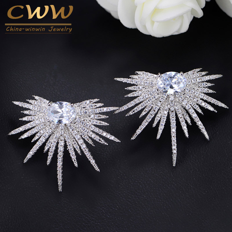 CWWZircons Hot New Big 925 Sterling Silver Earrings Jewelry Stud Dragonfly Cubic Zirconia Stone Fashion Brand Earring CZ255 hot brand pure 925 sterling silver jewelry for women gifts bowknot earring 5a cubic zirconia bowknot stud earring party jewelry