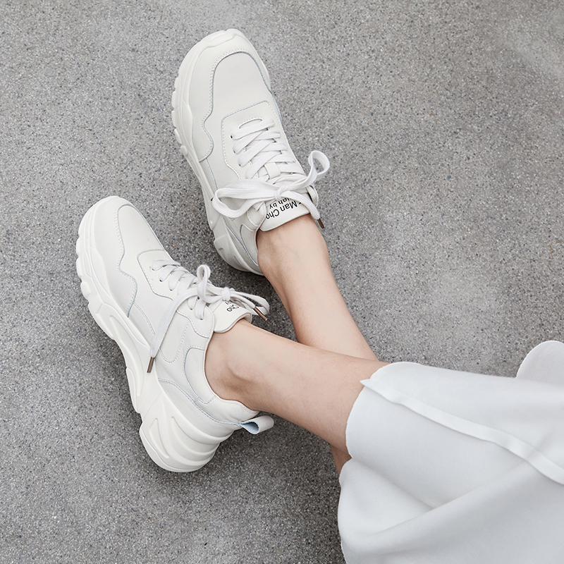 Shoes Woman 2019 Sneakers Women Leather White Casual Shoes 5cm