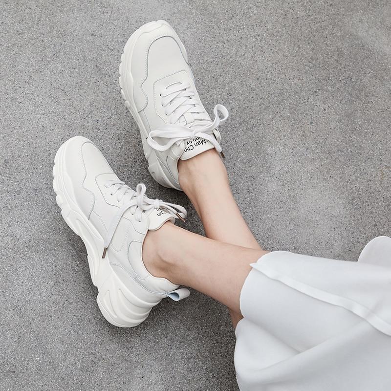 Chaussures Femme 2019 Sneakers Femmes En Cuir Blanc Casual Chaussures 5 cm