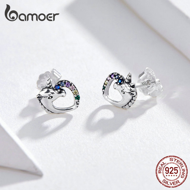 BAMOER Lucky Licorne Stud Earrings horse Ear Studs 925 Sterling Silver Anti-allergy Jewelry  2