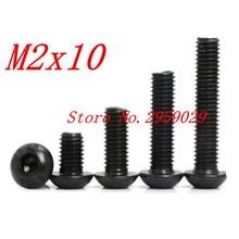 1000PCS ISO7380  m2*10 M2 x 10mm Steel with black hex hexagon socket button head screw