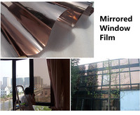 SUNICE Window Film Building Office Glass Sticker Brown One Way Mirror Reflective Film Privacy Waterproof Solar Tint Film 1x10m