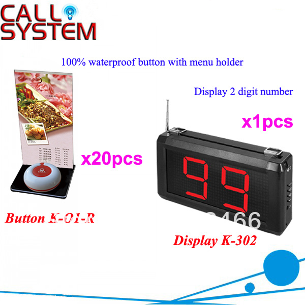 Wireless Call Bell System K-302+O1-R+H for restsaurant with 1-key call button with menu board and display DHL free Shipping