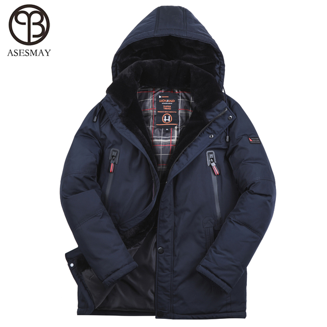 Best Price Asesmay New Arrival 2018 Men Winter Jacket Padded Coat Very Thick Warm Mens Winter Parka Detachable Fur Degree -40 European size