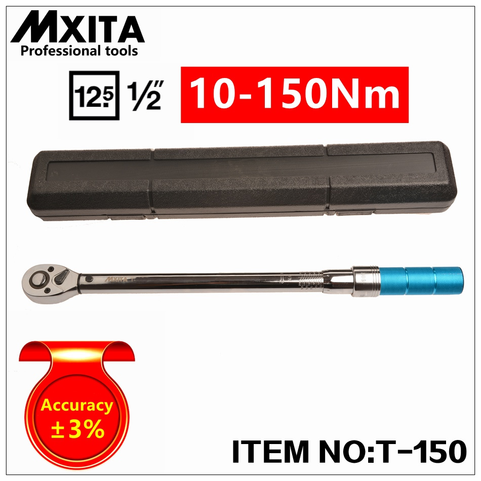 Mxita 1/2 10-150N Adjustable Professional Torque Wrench Bike Repair Tool Torque Spanner Tool mxita 3 8 5 60n professional adjustable torque wrench bike repair tool torque spanner tool hand tool set