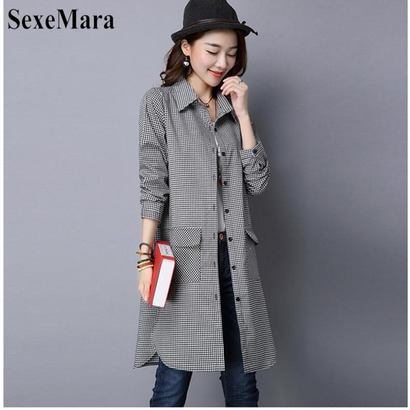 SexeMara Korean Version Of Large Size Lapel Cotton And Black And White Plaid Long Loose Shirt Female Blusas Mujer De Moda 2019 (9)