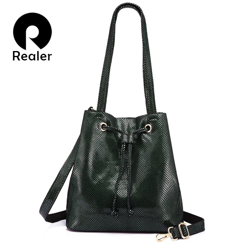 REALER Brand Fashion Women Genuine Leather Handbags Large Capacity Draw String Bucket Bags Female Serpentine Print Shoulder Bag