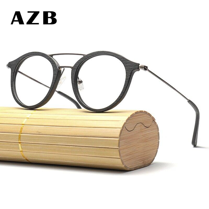 AZB Myopia Eyeglasses Frames Wood Grain Optical Prescription Glasses Frame Transparent Lens Men Women Wooden Glasses Frames