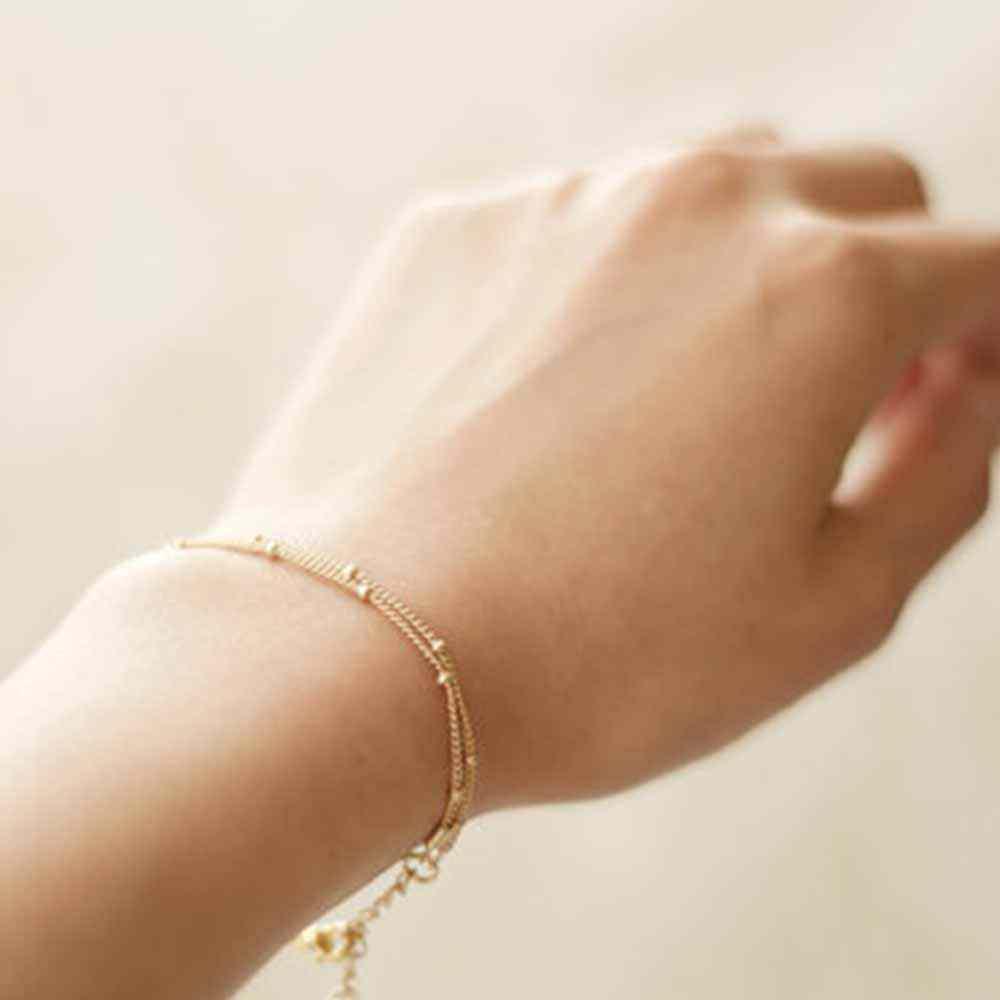 e3c3b7d59 ... FAMSHIN Summer bracelets & bangles Dainty Double-Layer Satellite Chain  Gold Bracelet Wedding Gift