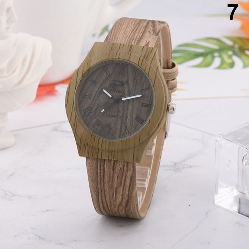 Fashion Men Women Quartz Watch PU Leather Wood Pattern Wristwatch Student Sport Casual Watches HSJ88