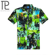 New Short Sleeve Men's Beach Shirt 2018 Summer Cool Palm Tree Print Hawaiian Shirt Swim Shirts For Men Holiday Vacation Wear(China)
