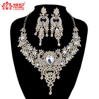 African Bridal Golden Jewelry Sets Phoenix Bird Style Rhinestone Necklace And Earrings Set Women Party Prom