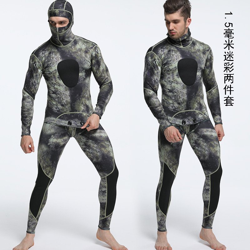 1 5MM Neoprene Wet Suit Camouflage Spearfishing Wetsuits for Underwater Hunting Hooded Warm 2 pieces Thicker